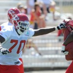 July 27, 2012; St. Joseph, MO, USA; Kansas City Chiefs offensive lineman Lucas Patterson (70) runs drills during training camp at Missouri Western State University. Mandatory Credit: Denny Medley-US PRESSWIRE