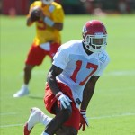 July 27, 2012; St. Joseph, MO, USA; Kansas City Chiefs wide receiver Brandon Kinnie (17) runs a pass pattern during training camp at Missouri Western State University. Mandatory Credit: Denny Medley-US PRESSWIRE