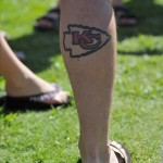 July 27, 2012; St. Joseph, MO, USA; A Kansas City Chiefs fan shows his support of the team with a tattoo during training camp at Missouri Western State University. Mandatory Credit: Denny Medley-US PRESSWIRE