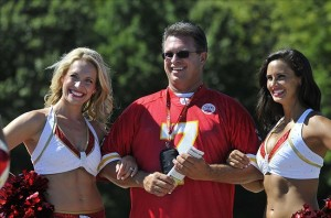 July 27, 2012; St. Joseph, MO, USA; Kansas City Chiefs cheerleaders pose with a fan during training camp at Missouri Western State University. Mandatory Credit: Denny Medley-US PRESSWIRE