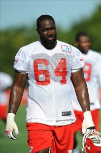 July 27, 2012; St. Joseph, MO, USA; Kansas City Chiefs offensive lineman Tony Ugoh (64) leaves the field after training camp at Missouri Western State University. Mandatory Credit: Denny Medley-US PRESSWIRE