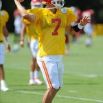 Aug 07, 2012; St. Joseph, MO, USA; Kansas City Chiefs quarterback Matt Cassel (7) drops back to pass during the Kansas City Chiefs and Arizona Cardinals practice at Missouri Western State University. Mandatory Credit: Denny Medley-US PRESSWIRE