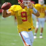 Aug 07, 2012; St. Joseph, MO, USA; Kansas City Chiefs quarterback Brady Quinn (9) drops back to pass during the Kansas City Chiefs and Arizona Cardinals practice at Missouri Western State University. Mandatory Credit: Denny Medley-US PRESSWIRE