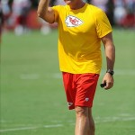 Aug 07, 2012; St. Joseph, MO, USA; Kansas City Chiefs general manager Scott Pioli motions to the sidelines during the Kansas City Chiefs and Arizona Cardinals practice at Missouri Western State University. Mandatory Credit: Denny Medley-US PRESSWIRE