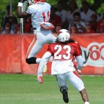 Aug 07, 2012; St. Joseph, MO, USA; Kansas City Chiefs wide receiver Jeremy Horne (11) makes a catch as Arizona Cardinals defensive back William Gay (23) defends during the Kansas City Chiefs and Arizona Cardinals practice at Missouri Western State University. Mandatory Credit: Denny Medley-US PRESSWIRE
