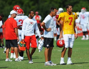 Aug 07, 2012; St. Joseph, MO, USA; Kansas City Chiefs quarterback Matt Cassel (7) talks with quarterbacks coach Jim Zorn during the Kansas City Chiefs and Arizona Cardinals practice at Missouri Western State University. Mandatory Credit: Denny Medley-US PRESSWIRE