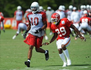 Aug 07, 2012; St. Joseph, MO, USA; Arizona Cardinals wide receiver DeMarco Sampson (10) and Kansas City Chiefs defensive back Eric Berry (29) run drills during the Kansas City Chiefs and Arizona Cardinals practice at Missouri Western State University. Mandatory Credit: Denny Medley-US PRESSWIRE