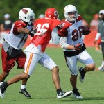 Aug 07, 2012; St. Joseph, MO, USA; Arizona Cardinals tight end Todd Heap (86) runs for yardage as Kansas City Chiefs defensive back Stanford Routt (26) defends during the Kansas City Chiefs and Arizona Cardinals practice at Missouri Western State University. Mandatory Credit: Denny Medley-US PRESSWIRE