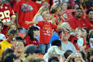 August 10, 2012; Kansas City, MO, USA; A young Kansas City Chiefs fan shows his support during the game against the Arizona Cardinals at Arrowhead Stadium. The Chiefs won 27-17. Mandatory Credit: Denny Medley-US PRESSWIRE