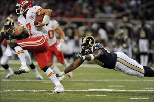 August 18, 2012; St. Louis, MO, USA; St. Louis Rams defensive tackle Michael Brockers (90) dives but can