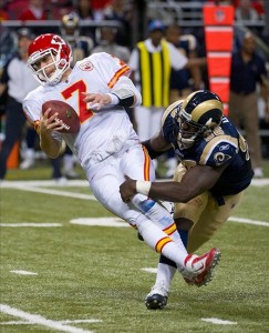 December 19, 2010; St. Louis, MO, USA; St. Louis Rams defensive end James Hall (96) sacks Kansas City Chiefs quarterback Matt Cassel (7) at the Edward Jones Dome. Kansas City defeated St. Louis 27-13. Mandatory Credit: Photo by Scott Rovak-US PRESSWIRE