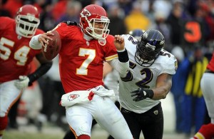 Jan 9, 2011; Kansas City, MO, USA; Kansas City Chiefs quarterback Matt Cassel (7) is sacked by Baltimore Ravens linebacker Ray Lewis (52) during the 2011 AFC wild card playoff at Arrowhead Stadium. Baltimore won the game 30-7. Mandatory Credit: John Rieger-US PRESSWIRE