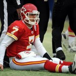 Jan 9, 2011; Kansas City, MO, USA; Kansas City Chiefs quarterback Matt Cassel (7) sits on the ground after he was sacked by Baltimore Ravens linebacker Ray Lewis (not pictured) during the 2011 AFC wild card playoff at Arrowhead Stadium. Mandatory Credit: John Rieger-US PRESSWIRE