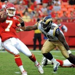 Aug 26, 2011; Kansas City, MO, USA; Kansas City Chiefs quarterback Matt Cassel (7) is sacked by St Louis Rams defensive end James Hall (96) in the first quarter at Arrowhead Stadium. Mandatory Credit: John Rieger-US PRESSWIRE