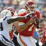 Sep 25, 2011; San Diego, CA, USA; Kansas City Chiefs quarterback Matt Cassel (7) scrambles in the pocket prior to being sacked by San Diego Chargers linebacker Antwan Barnes (98) during the second quarter at Qualcomm Stadium. Mandatory Credit: Christopher Hanewinckel-US PRESSWIRE
