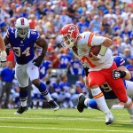 Sep 16, 2012; Orchard Park, NY, USA; Buffalo Bills defensive tackle Kyle Williams (95) sacks Kansas City Chiefs quarterback Matt Cassel (7) during the third quarter at Ralph Wilson Stadium. Bills beat the Chiefs 35-17. Mandatory Credit: Kevin Hoffman-US PRESSWIRE