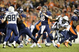 Nov 18 2012; Denver, CO, USA; Denver Broncos quarterback Peyton Manning (18) looks to pass during the third quarter of the game against the San Diego Chargers at Sports Authority Field. Mandatory Credit: Ron Chenoy-US PRESSWIRE