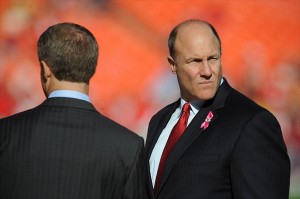 Dec 2, 2012; Kansas City, MO, USA; Kansas City Chiefs general manager Scott Pioli (right) talks to Chiefs chairman Clark Hunt (left) before the game against the Carolina Panthers at Arrowhead Stadium. Mandatory Credit: John Rieger-USA TODAY Sports