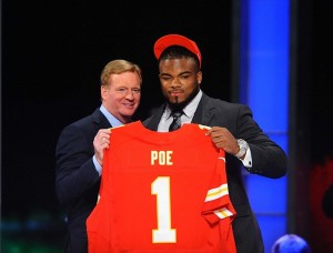 Apr 26, 2012; New York, NY, USA; NFL commissioner Roger Goodell introduces defensive tackle Dontari Poe (Memphis) as the 11th overall pick by the Kansas City Chiefs in the 2012 NFL Draft at Radio City Music Hall. Mandatory Credit: James Lang-USA TODAY Sports