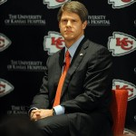 January 07, 2013; Kansas City, MO, USA; Kansas City Chiefs chairman Clark Hunt answers questions from media during the press conference announcing Andy Reid