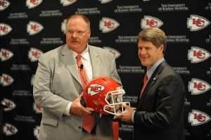 January 07, 2013; Kansas City, MO, USA; Newly hired Kansas City Chiefs head coach Andy Reid (left) and chairman Clark Hunt pose for photos during the press conference at Arrowhead Stadium. Mandatory Credit: Denny Medley-USA TODAY Sports