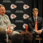 January 07, 2013; Kansas City, MO, USA; Kansas City Chiefs head coach Andy Reid (left) and chairman Clark Hunt answer questions from media during the press conference at Arrowhead Stadium. Mandatory Credit: Denny Medley-USA TODAY Sports
