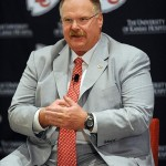 January 07, 2013; Kansas City, MO, USA; Kansas City Chiefs head coach Andy Reid answers questions from media during the press conference at Arrowhead Stadium. Mandatory Credit: Denny Medley-USA TODAY Sports