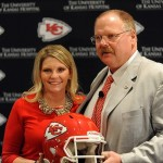 January 07, 2013; Kansas City, MO, USA; Newly hired Kansas City Chiefs head coach Andy Reid and wife Tammy Reid pose for photos during the press conference at Arrowhead Stadium. Mandatory Credit: Denny Medley-USA TODAY Sports