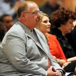 January 07, 2013; Kansas City, MO, USA; Kansas City Chiefs head coach Andy Reid and wife Tammy Reid in attendance at the press conference at Arrowhead Stadium. Mandatory Credit: Denny Medley-USA TODAY Sports
