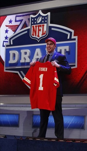 Apr 25, 2013; New York, NY, USA; Eric Fisher (Central Michigan) is introduced as the number one overall pick to the Kansas City Chiefs during the 2013 NFL Draft at Radio City Music Hall. Mandatory Credit: Jerry Lai-USA TODAY Sports