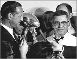 Vince Lombardi and Trophy