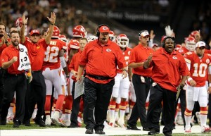 Aug 9, 2013; New Orleans, LA, USA; Kansas City Chiefs head coach Andy Reid and his bench reacts after a first quarter touchdown against the New Orleans Saints. Mandatory Credit: Chuck Cook-USA TODAY Sports