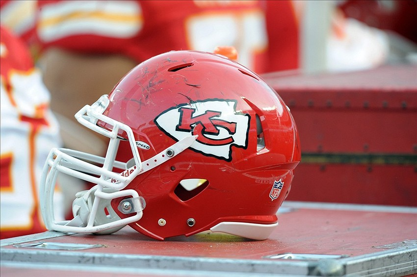 Dec 2, 2012; Kansas City, MO, USA; A Kansas City Chiefs helmet on the sidelines against the Carolina Panthers in the second half at Arrowhead Stadium. Kansas City won the game 27-21. Mandatory Credit: John Rieger-USA TODAY Sports