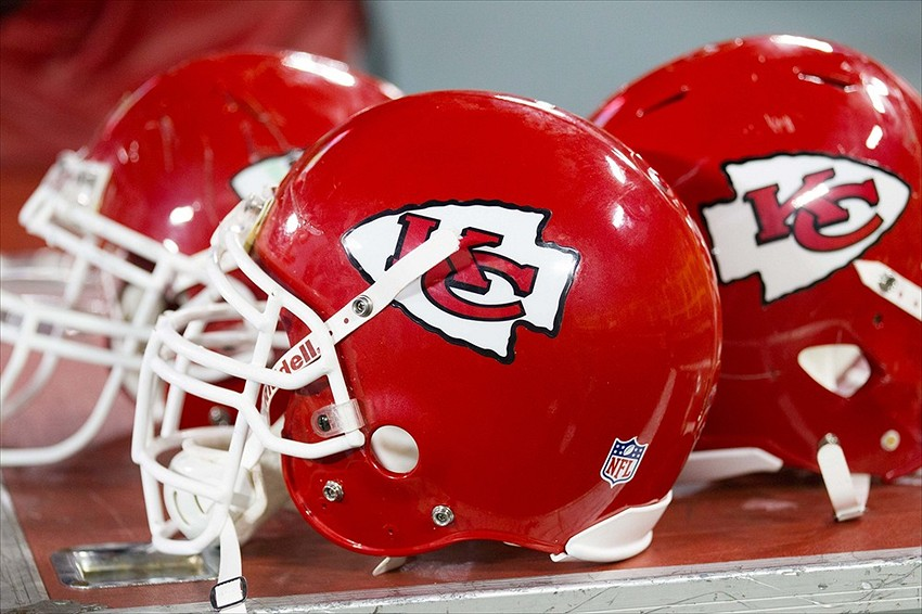 Aug 30, 2012; Green Bay, WI, USA; Kansas City Chiefs helmets during the game against the Green Bay Packers at Lambeau Field. The Packers defeated the Chiefs 24-3. Mandatory Credit: Jeff Hanisch-USA TODAY Sports