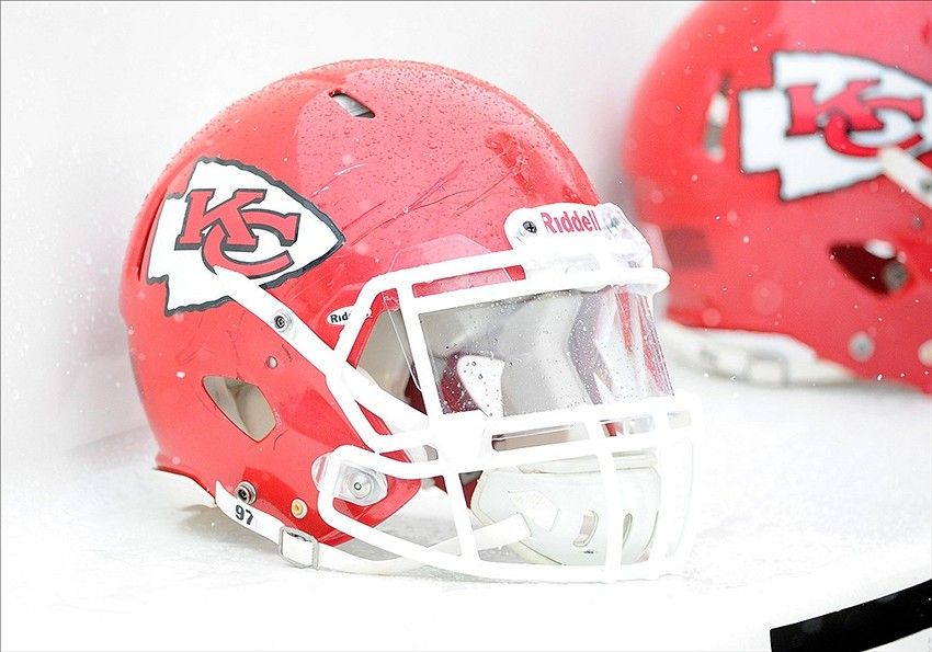 Dec 8, 2013; Landover, MD, USA; General view of Kansas City Chiefs helmet before the game against the Washington Redskins at FedEx Field. Mandatory Credit: Brad Mills-USA TODAY Sports