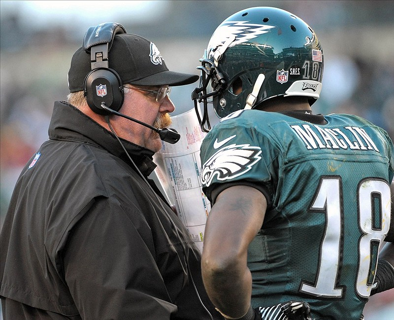 Dec 23, 2012; Philadelphia, PA, USA; Philadelphia Eagles head coach Andy Reid talks with wide receiver Jeremy Maclin (18) during the fourth quarter against the Washington Redskins at Lincoln Financial Field. Th Redskins defeated the Eagles, 27-20. Mandatory Credit: Eric Hartline-USA TODAY Sports