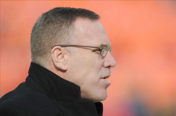 Nov 24, 2013; Kansas City, MO, USA; Kansas City Chiefs general manager John Dorsey watches warmups before the game against the San Diego Chargers at Arrowhead Stadium. The Chargers won 41-38. Mandatory Credit: Denny Medley-USA TODAY Sports