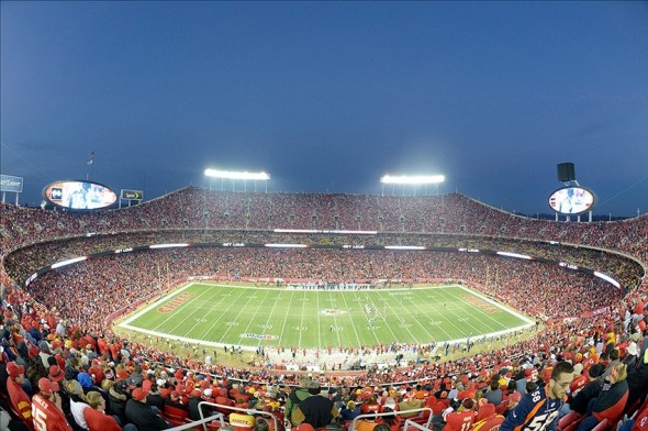 Dec 1, 2013; Kansas City, MO, USA; General view of the Arrowhead Stadium before the NFL game between the Denver Broncos and the Kansas City Chiefs. Mandatory Credit: Kirby Lee-USA TODAY Sports