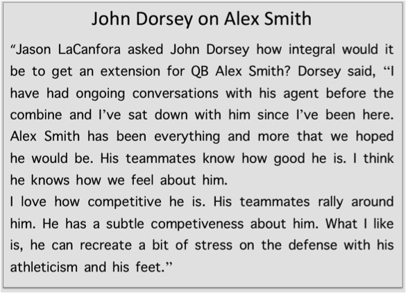 1 Dorsey on Alex Smith