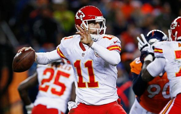 Nov 17, 2013; Denver, CO, USA; Kansas City Chiefs quarterback Alex Smith (11) passes in the third quarter against the Denver Broncos at Sports Authority Field at Mile High. The Broncos won 27-17. Mandatory Credit: Isaiah J. Downing-USA TODAY Sports