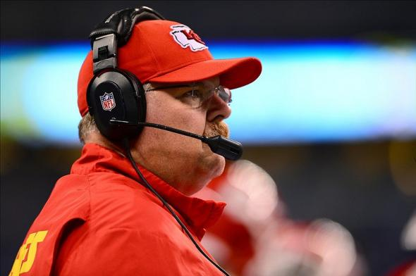 Jan 4, 2014; Indianapolis, IN, USA; Kansas City Chiefs head coach Andy Reid on the sidelines during the second quarter of the 2013 AFC wild card playoff football game against the Indianapolis Colts at Lucas Oil Stadium. Mandatory Credit: Andrew Weber-USA TODAY Sports
