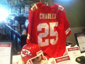 "A signed Jamaal Charles jersey was one of the items up for bid at Derrick Johnson's Second Annual Celebrity Waiters Night. The fundraiser was in support of Johnson's ""Defend The Dream"" charity."