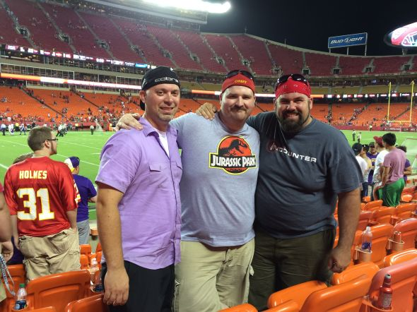 My friends starting left: Anthony Charlton, Myself, Josh See at the Chiefs vs Vikings game Saturday August 23, 2014