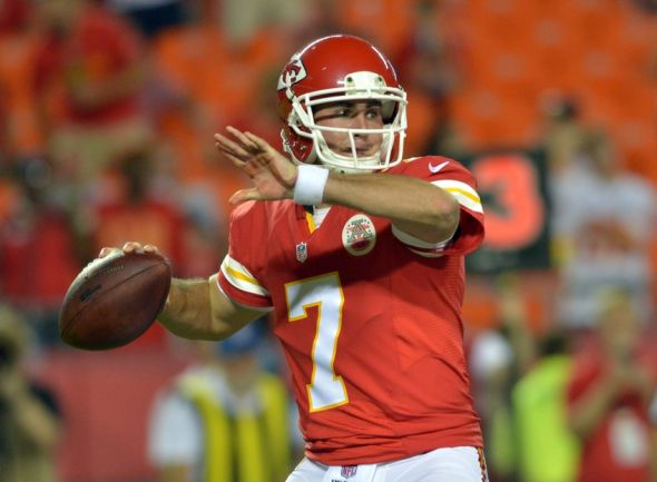 Aug 7, 2014; Kansas City, MO, USA; Kansas City Chiefs quarterback Aaron Murray (7) throws a pass during the second half against the Cincinnati Bengals at Arrowhead Stadium. The Chiefs won 41 - 39. Mandatory Credit: Denny Medley-USA TODAY Sports