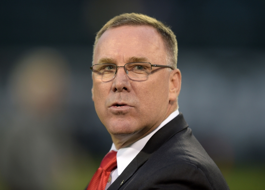 Nov 20, 2014; Oakland, CA, USA; Kansas City Chiefs general manager John Dorsey during the game against the Oakland Raiders at O.co Coliseum. Mandatory Credit: Kirby Lee-USA TODAY Sports