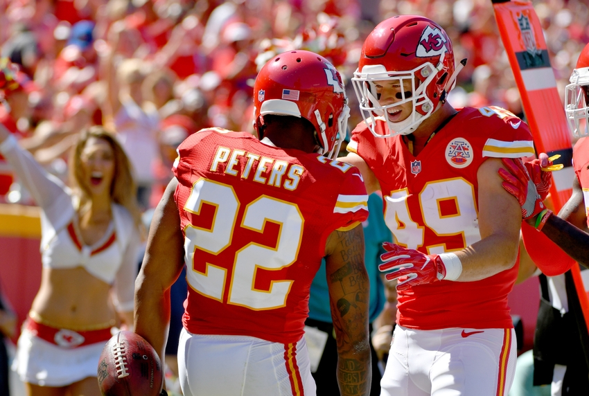 Aug 13, 2016; Kansas City, MO, USA; Kansas City Chiefs cornerback Marcus Peters (22) is congratulated by defensive back Daniel Sorensen (49) after Peters
