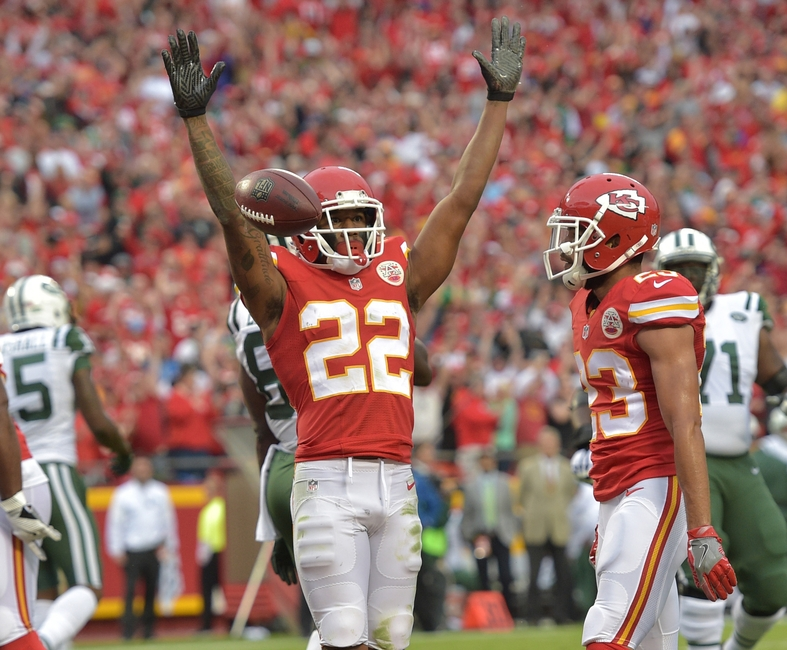 Sep 25, 2016; Kansas City, MO, USA; Kansas City Chiefs cornerback Marcus Peters (22) celebrates after intercepting a pass in the end zone during the second half against the New York Jets at Arrowhead Stadium. The Chiefs won 24-3. Mandatory Credit: Denny Medley-USA TODAY Sports