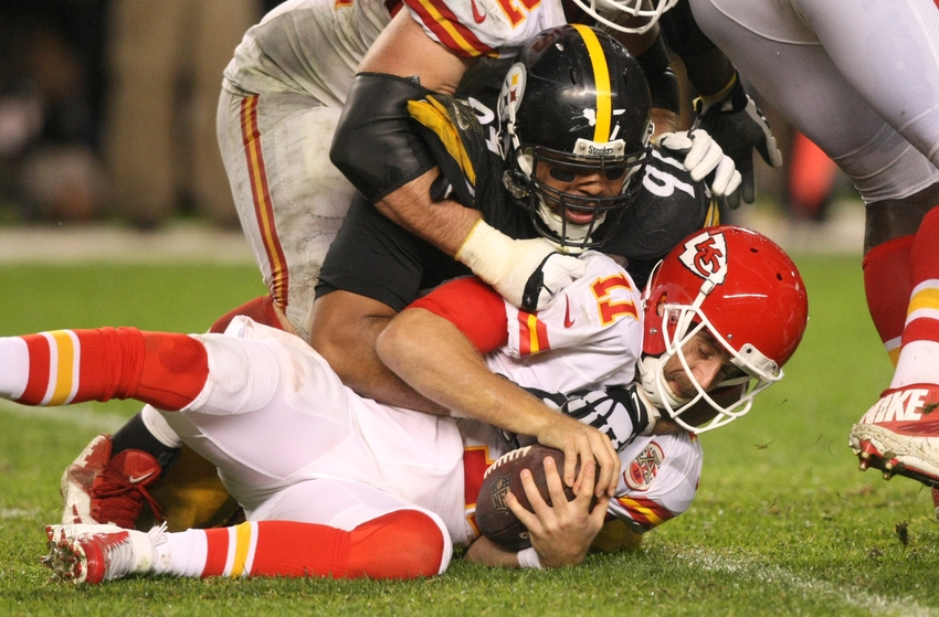 Oct 2, 2016; Pittsburgh, PA, USA; Pittsburgh Steelers defensive end Cameron Heyward (97) sacks Kansas City Chiefs quarterback Alex Smith (11) during the second half at Heinz Field. The Steelers won the game, 43-14. Mandatory Credit: Jason Bridge-USA TODAY Sports