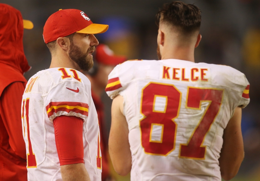 Oct 2, 2016; Pittsburgh, PA, USA;  Kansas City Chiefs quarterback Alex Smith (11) and tight end Travis Kelce (87) talk on the sidelines against the Pittsburgh Steelers during the fourth quarter at Heinz Field. The Steelers won 43-14. Mandatory Credit: Charles LeClaire-USA TODAY Sports