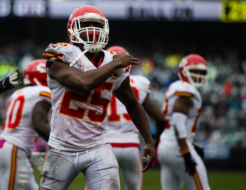 Oct 16, 2016; Oakland, CA, USA; Kansas City Chiefs running back Jamaal Charles (25) celebrates scoring a touchdown against the Oakland Raiders during the second quarter at Oakland Coliseum. Mandatory Credit: Kelley L Cox-USA TODAY Sports